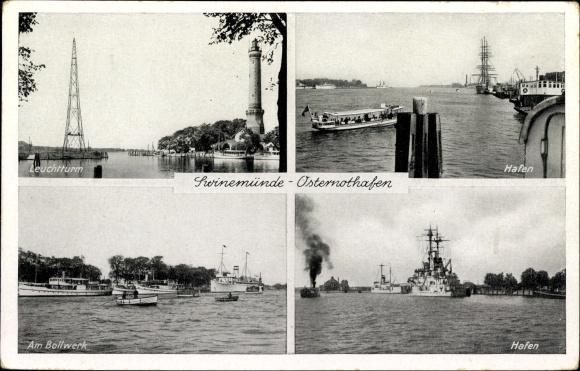 Ak Warszów Świnoujście Osternothafen Swinemünde Pommern, Leuchtturm, Hafen, Bollwerk, Kriegsschiff