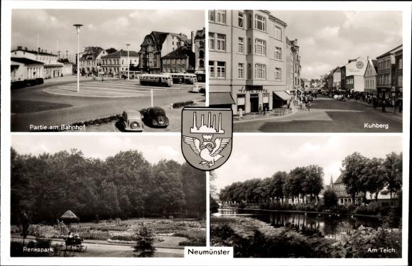 Wappen Ak Neumünster in Holstein, Partei am Bahnhof, Kuhberg, Renkspark, Am Teich