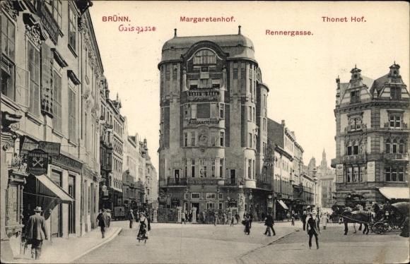 Ak Brno Brünn Südmähren, Margaretenhof, Rennergasse, Café Thonet Hof, Gaisgasse
