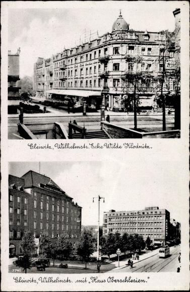 Ak Gliwice Gleiwitz Schlesien, Wilhelmstraße Ecke Wilde Klodnitz, Haus Oberschlesien