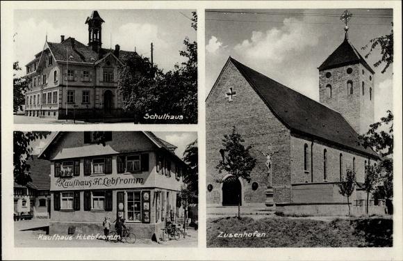 Ak Zusenhofen Oberkirch in Baden Württemberg, Kirche, Kaufhaus H. Lebfromm, Schule