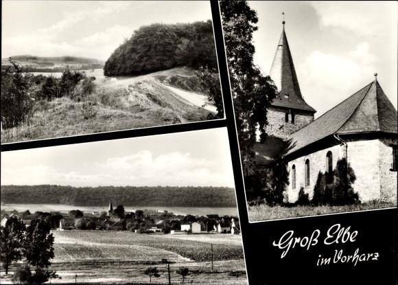 Ak Groß Elbe in Niedersachsen, Totalansicht, Kirche, Waldpartie