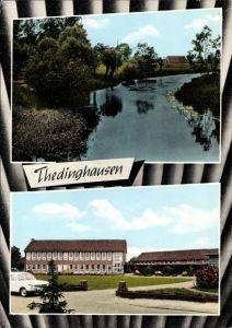 Ak Thedinghausen in Niedersachsen, Partie am Wasser, Verwaltungsgebäude