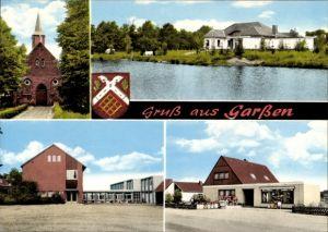 Ak Garßen Celle in Niedersachsen, Kirche, Schule, Geschäft, Partie am Wasser
