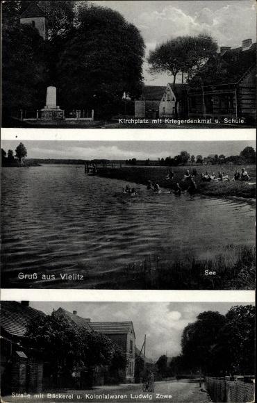 Ak Vielitz Vielitzsee, Kirchplatz, Kriegerdenkmal, Schule, Bäckerei und Kolonialwaren Ludwig Zowe