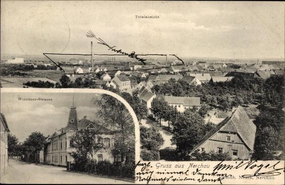 Ak Nerchau Grimma in Sachsen, Panorama von der Ortschaft, Wurzener Straße