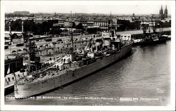 Ak Bordeaux Gironde, Französisches Kriegsschiff, Croiseur Duguay Trouin, Cuirassé