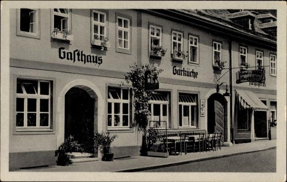 Ak Leutenberg in Thüringen, Gasthaus zur Garküche, Straßenansicht