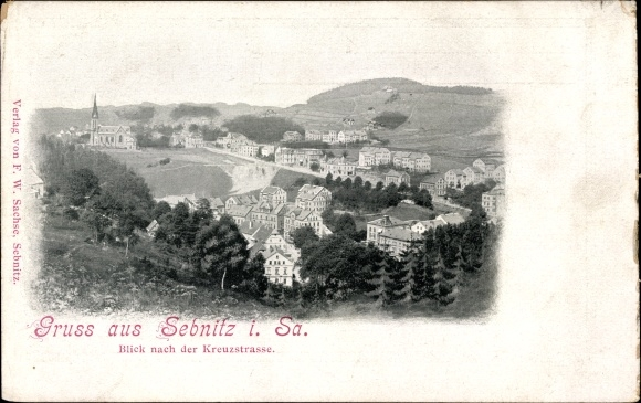Ak Sebnitz in Sachsen, Blick nach der Kreuzstraße, Teilansicht