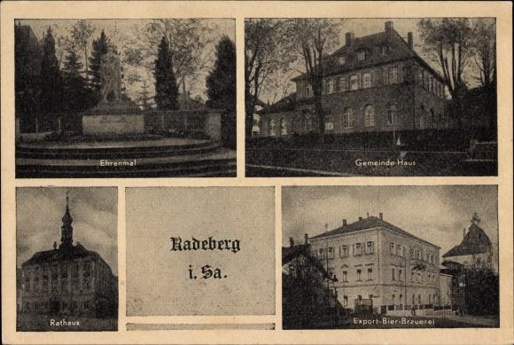 Ak Radeberg im Kreis Bautzen Sachsen, Gemeindehaus, Ehrenmal, Rathaus, Export Bier Brauerei