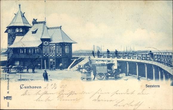 Ak Cuxhaven in Niedersachsen, Blick zum Seestern, Partie auf der Brücke, Fuhrwerk