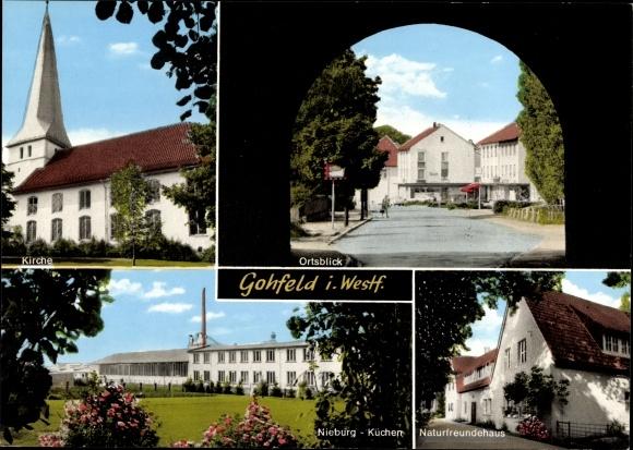 Ak Gohfeld Löhne Nordrhein Westfalen, Kirche, Ortsblick, Tor, Naturfreundehaus, Nieburg Küchen