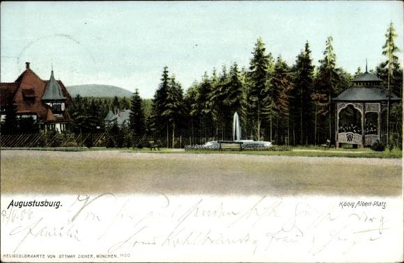 Ak Augustusburg im Erzgebirge, König Albert Platz, Wald, Pavillon, Brunnen