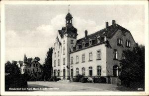 Ak Einsiedel Chemnitz in Sachsen, Seitenblick auf das Rathaus