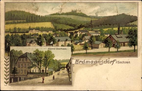 Litho Lippersdorf Erdmannsdorf Thüringen, Partie vor Knorrs Gasthaus, Ort