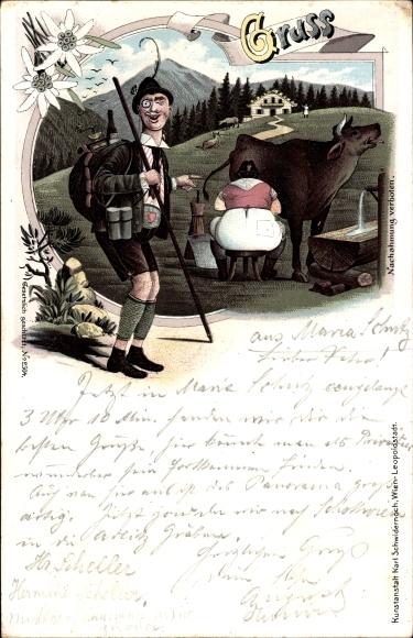 Litho Wanderer lacht über dicke Bäuerin beim Kuh melken