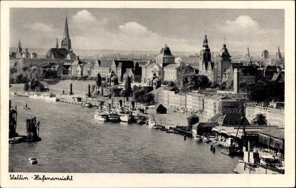 Ak Szczecin Stettin Pommern, Hafenansicht, Panorama, Kirchtürme