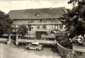 Ak Trautenstein Oberharz am Brocken, Blick zur Konsum Gaststätte Bergeshöh, Auto