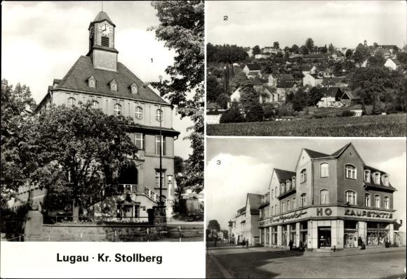 Ak Lugau Kreis Stollberg, Rathaus, Teilansicht, Stollberger Straße