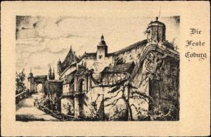 Künstler Ak Coburg in Oberfranken, Blick auf die Veste Coburg, Weg, Tor