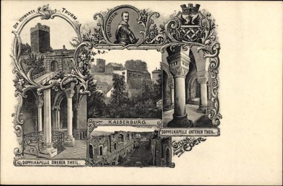 Ak Cheb Eger Reg. Karlsbad, Wallenstein, Der schwarze Turm, Doppelkapelle, Kaiserburg