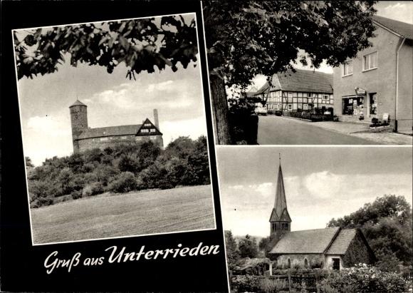 Ak Unterrieden Witzenhausen im Werra Meißner Kreis, Kirche, Geschäftshaus