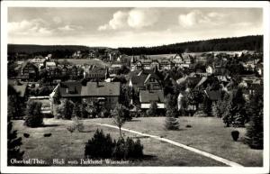 Ak Oberhof im Thüringer Wald, Blick vom Parkhotel Wünscher auf den Ort