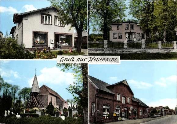 Ak Hohenaspe in Schleswig Holstein, Spar Geschäft, Wohnhaus, Kirche und Friedhof, Vivo Geschäft