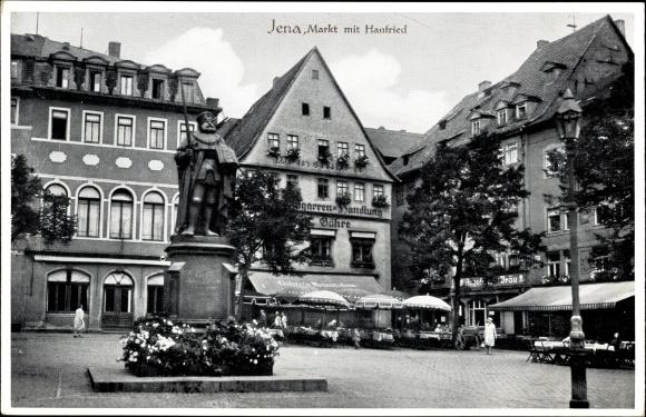 Ak Jena in Thüringen, Markt mit Hanfried, Göhres Weinstuben