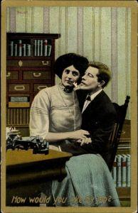 Ak USA, How would you like my job, Sekretärin mit ihren Chef, Schreibmaschine