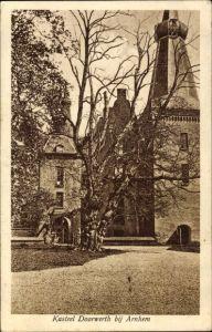Ak Renkum Oosterbeek Gelderland, Kasteel Doorwerth bij Arnhem, Blick auf Gebäude, alter Baum