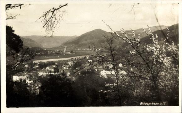 Foto Ak Velke Velké Březno Großpriesen Region Aussig, Panorama der Stadt, Frühlingsblüte