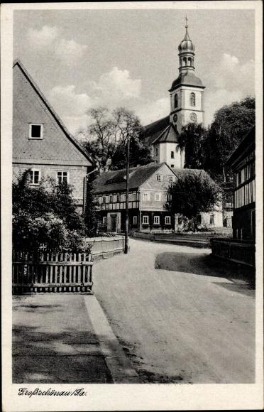 Ak Großschönau im Kreis Görlitz, Dorfidyll, Blick zur Kirche