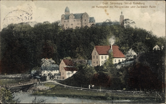 Ak Rochsburg Lunzenau in Sachsen, Gräfl. Schönburg, Hängebrücke über Zwickauer Mulde