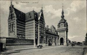 Ak Audenarde Oudenaarde Ostflandern, La Gare, Bahnhof, Straßenseite