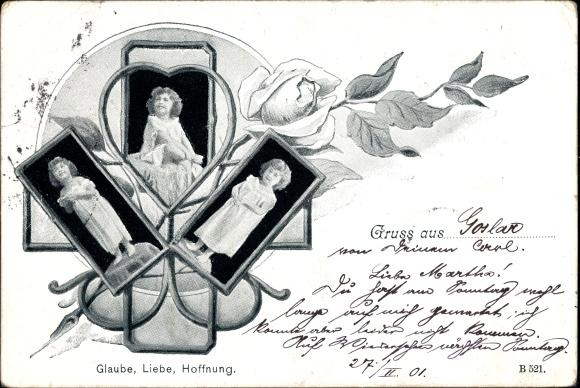 ak glaube liebe hoffnung allegorien kleines m dchen rose nr 1341668 oldthing sonstige. Black Bedroom Furniture Sets. Home Design Ideas
