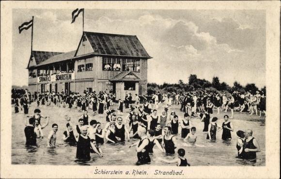 Ak Schierstein Wiesbaden in Hessen, Strandbad mit Badegästen, Badehaus