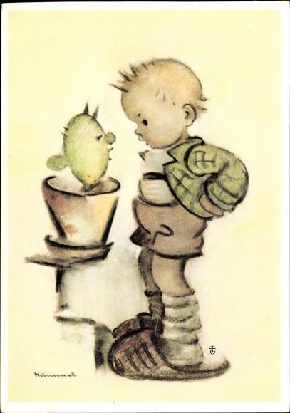 Künstler Ak Hummel, Zwiegespräch, Kleiner Junge mit großen Pantoffeln, Kaktus im Blumentopf