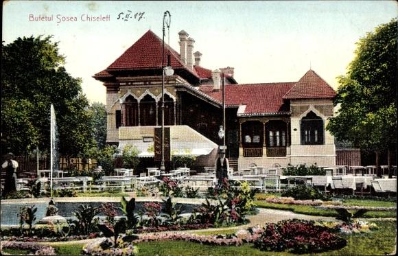Ak București Bukarest Rumänien, Bufetul Sosea Chiseleff, Blick vom Garten