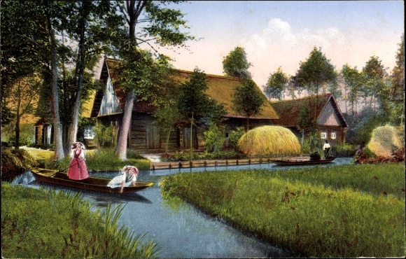 Ak Lehde Lübbenau im Spreewald, Blick auf das Bauerngehöft am Ufer