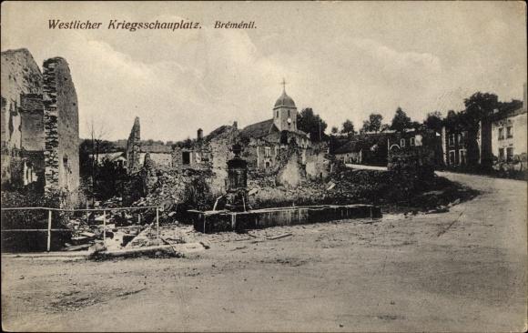 Ak Bremenil Meurthe et Moselle, Westlicher Kriegsschauplatz, zerstörte Gebäude, Kirche, I. WK