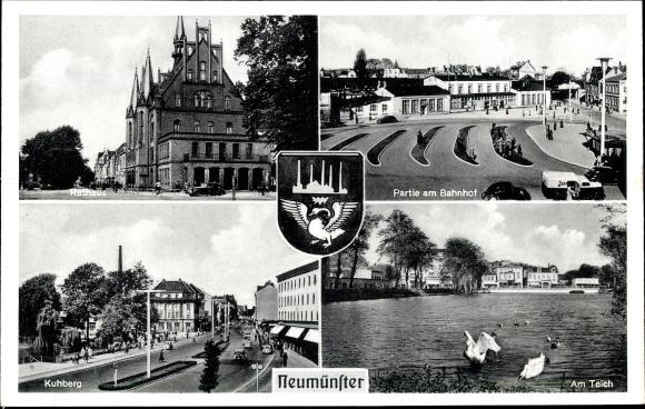 Wappen Ak Neumünster, Bahnhof, Teich, Kuhberg, Rathaus