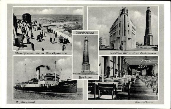 Ak Insel Borkum im Kreis Leer, Strandpromenade, Musikpavillon, Leuchtturm, Wandelhalle, D. Rheinland