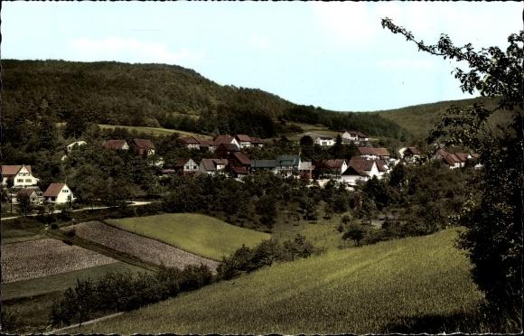 Ak Hitzelrode Meinhard im Werra Meißner Kreis, Blick auf den Ort mit Umgebung, Pension Georg Brill