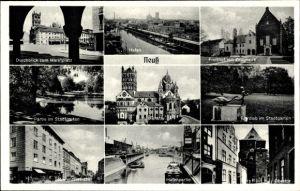 Ak Neuss in Nordrhein Westfalen, Markt, Stadtgarten, Eierdieb, Freithof mit Zeughaus, Hafen, Münster