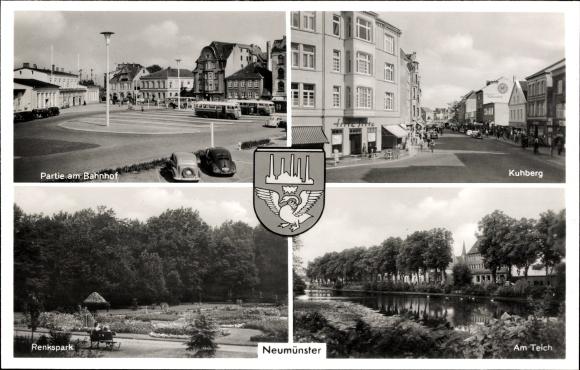 Wappen Ak Neumünster in Schleswig Holstein, Partie am Bahnhof, Park, Teich, am Kuhberg