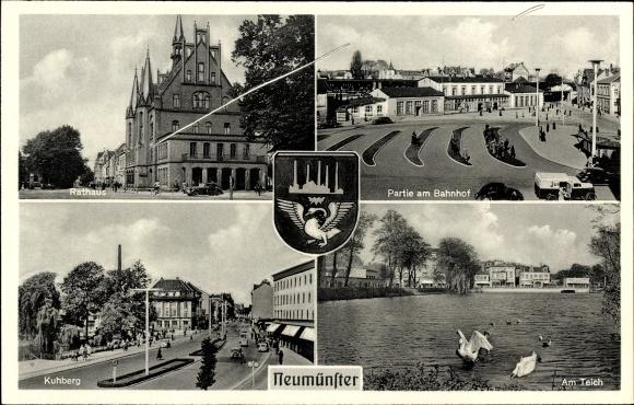 Wappen Ak Neumünster in Schleswig Holstein, Rathaus, Kuhberg, Partie am Bahnhof, Teich, Schwan