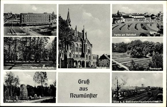 Ak Neumünster, Großflecken, Renkspark, Ehrenhain, Rathaus, Bahnhof