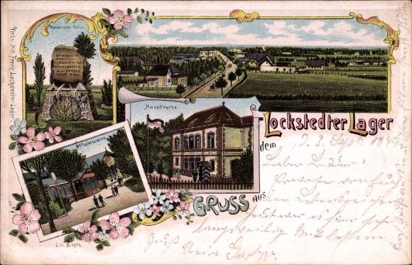 Litho Lockstedt Schleswig Holstein, Lockstedter Lager, Hauptwache, Offizierskasino, Walderseestein