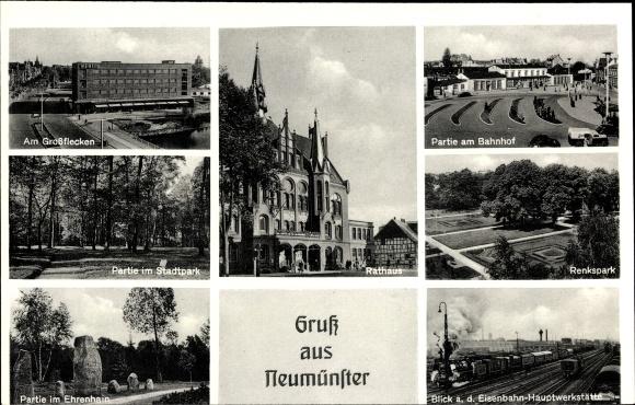 Ak Neumünster in Schleswig Holstein, Großflecken, Rathaus, Stadtpark, Bahnhof, Renkspark, Ehrenhain